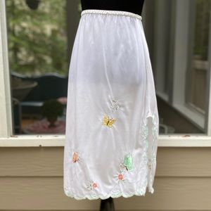 Vintage 60s Floral Butterfly Embroidered Slip